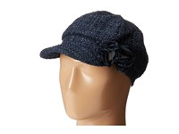Scala Tweed Cap With Lurex And Flower Trim Navy Caps