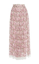 Luisa Beccaria Tulle Embroidered Flowers Skirt Pink
