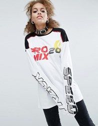Asos T Shirt With Track Race Print And Super Long Sleeves White