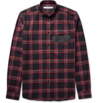 Givenchy Slim Fit Leather Trimmed Checked Cotton Twill Shirt Red