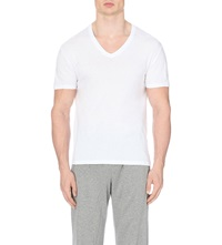 Zegna V Neck Cotton Jersey T Shirts Pack Of Two White