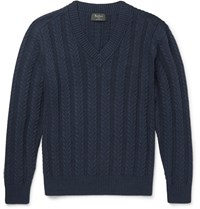 Berluti Cable Knit Cotton And Cashmere Blend Sweater Blue
