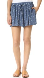 Splendid Primrose Ditsy Shorts Blue Shadow