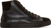Damir Doma Black Leather And Suede High Top Sneakers