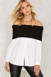 Asilio Favourite Odds Off The Shoulder Shirt White