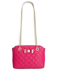 Betsey Johnson Quilted Shoulder Bag Fuschia
