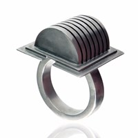 Simone Brewster Semi Dome Ring Silver