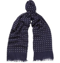 Kingsman Drake's Polka Dot Modal And Cashmere Blend Scarf Navy