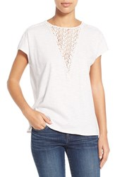 Women's Two By Vince Camuto Lace Inset Dolman Sleeve Cotton Top New Ivory