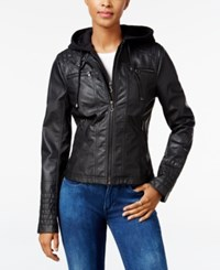 Maralyn And Me Faux Leather Hooded Moto Jacket Black