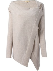 Fay Asymmetric Wrap Sweater Nude And Neutrals