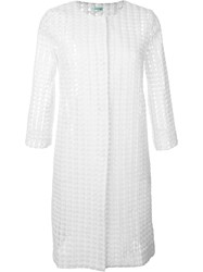 P.A.R.O.S.H. Embroidered Sheer Coat White