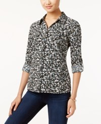Ny Collection Petite Printed Utility Shirt Olive Meteor