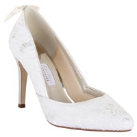 Rainbow Club Agnes High Heeled Stiletto Court Shoe Ivory Satin Lace