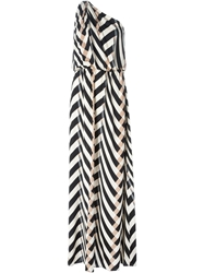 Lanvin Chevron Pattern One Shoulder Dress Nude And Neutrals