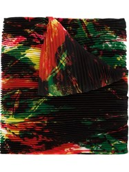 Issey Miyake Pleated Abstract Print Scarf Black