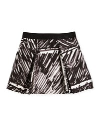Milly Minis Katie Pleated Scribble Print Skirt Black Size 8 14 Girl's Size 12