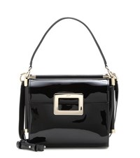 Roger Vivier Miss Viv' Carre Small Patent Leather Shoulder Bag Black