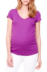 Ingrid And Isabel Women's V Neck Short Sleeve Maternity Tee New Orchid