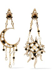 Percossi Papi Diego Sun And Moon Gold Plated Multi Stone Earrings