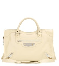 Balenciaga Classic City Metal Plate Leather Tote Yellow