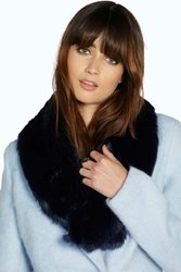 Boohoo Faux Fur Long Collar Scarf Navy