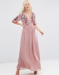 Asos Premium Wrap Maxi Dress With Embroidered Peacock And Flower Detail Pink