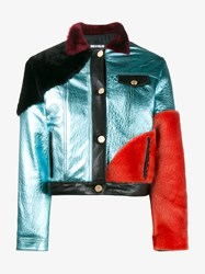 House Of Holland Metallic Leather And Shearling Jacket Multi Coloured Burgundy Iris Blue Black