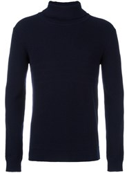 Paolo Pecora Ribbed Turtleneck Jumper Blue