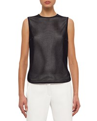 Akris Punto Sleeveless Jewel Neck Mesh Front Top Navy