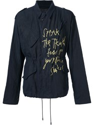 Haider Ackermann Drawstring Printed Jacket Blue