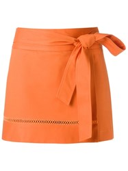 Giuliana Romanno Tie Fastening Skorts Yellow And Orange