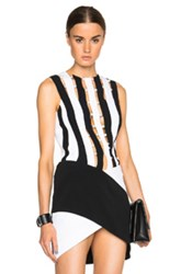 Thierry Mugler Mugler Bi Color Fitted Cady Top In Black White Stripes