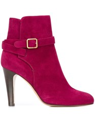 Michel Vivien Buckled Strap Ankle Boots Pink And Purple