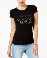 Guess Sequined Logo Graphic T Shirt Jet Black