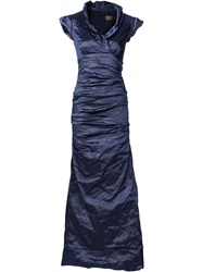 Nicole Miller Creased Effect Evening Dress Blue