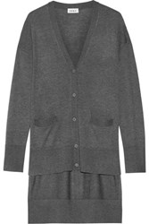 Dkny Asymmetric Stretch Knit Cardigan Charcoal
