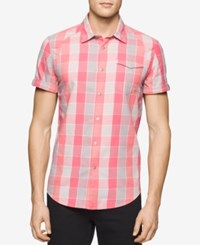 Calvin Klein Jeans Men's Twill Checked Short Sleeve Shirt Charged Coral