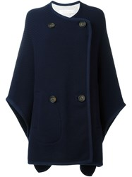 See By Chloa Double Breasted Cape Coat Blue