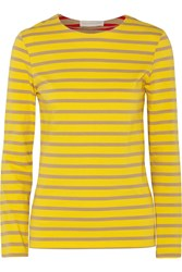 Stella Mccartney Striped Cotton Jersey Top Yellow
