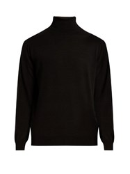 Vince Roll Neck Wool And Cashmere Blend Sweater Black