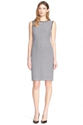 St. John Leather Trimmed Houndstooth Knit Dress Gray