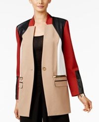 Alfani Prima One Button Colorblocked Jacket Only At Macy's Camel Burnt Pepper