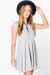 Boohoo Rib Basic Skater Dress Grey