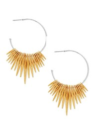 Steve Madden Two Tone Open Hoop Dangling Pointed End Fringed Earrings