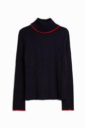 Msgm Women S Navy High Neck Knit Boutique1