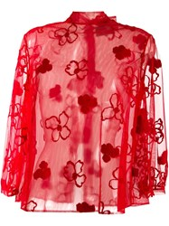 Simone Rocha Sheer Floral Blouse Red