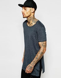 Asos Super Longline T Shirt With Extreme Side Splits And Scoop Neck In Charcoal Washed Black