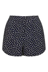 Topshop Petite Animal Smudge Short Navy Blue