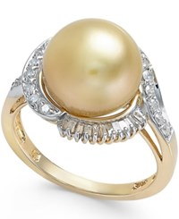 Macy's Cultured Golden South Sea Pearl 11Mm And Diamond Ring 1 2 Ct. T.W. In 14K Gold